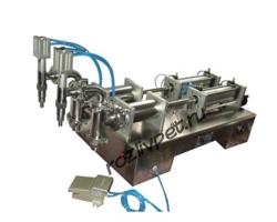 Полуавтоматическое оборудование для розлива жидкостей с двумя головками для розлива